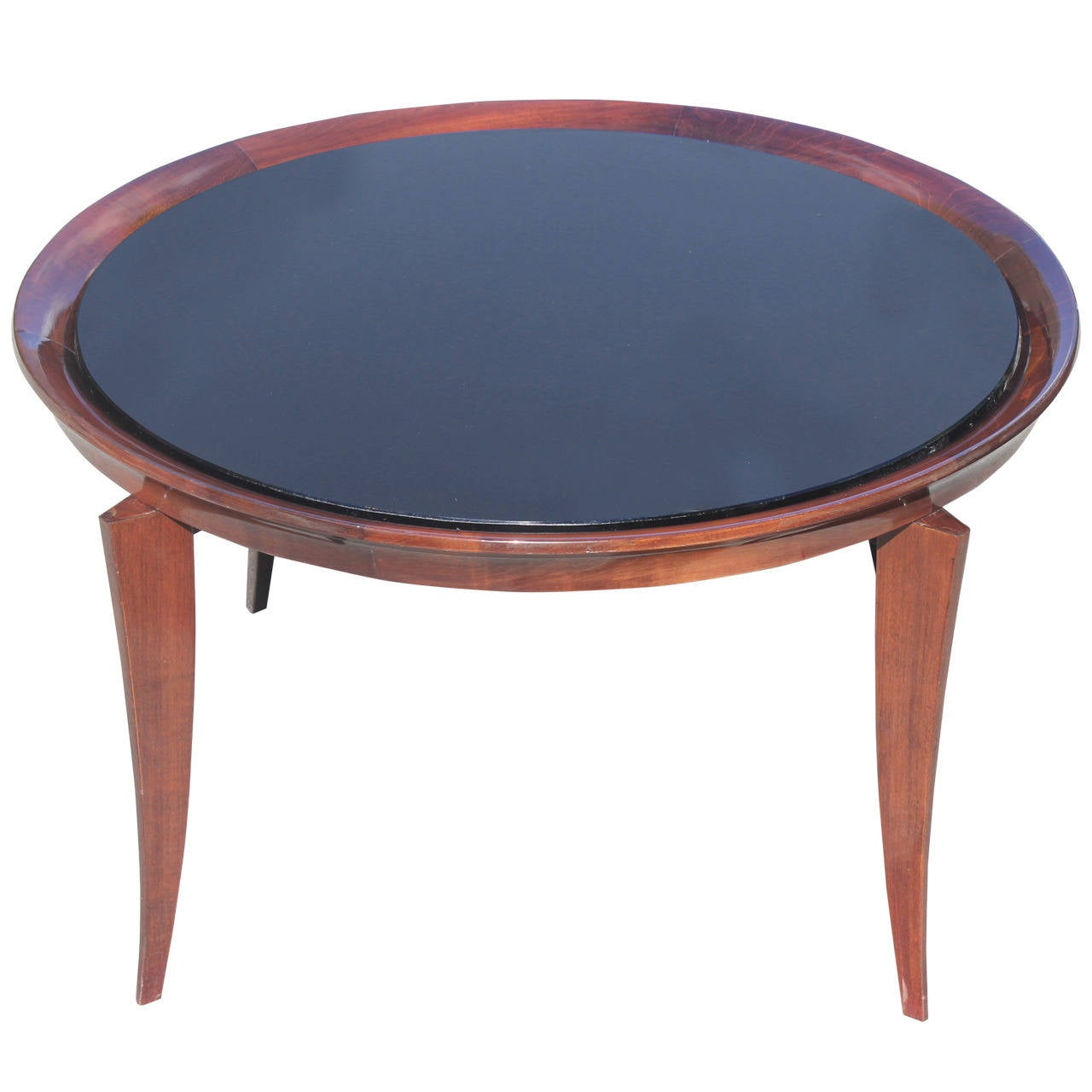 French Art Deco Large Round Coffee Or Cocktail Table Black Glass Top
