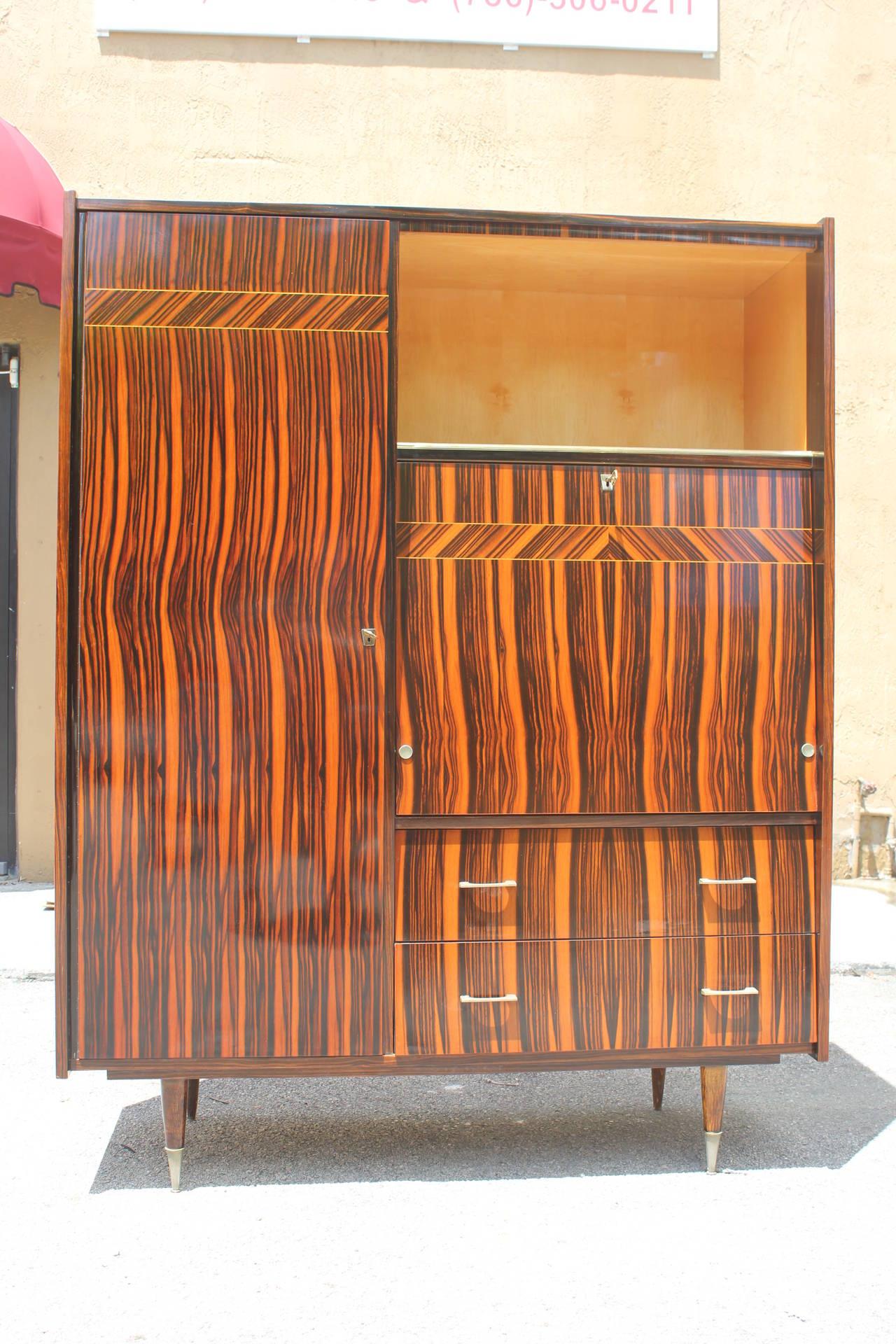 French Art Deco Exotic Macassar Ebony Secretary Or Cabinet