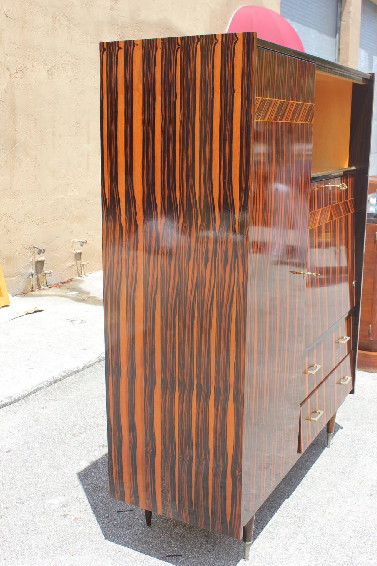French Art Deco Exotic Macassar Ebony Secretary Or Cabinet
