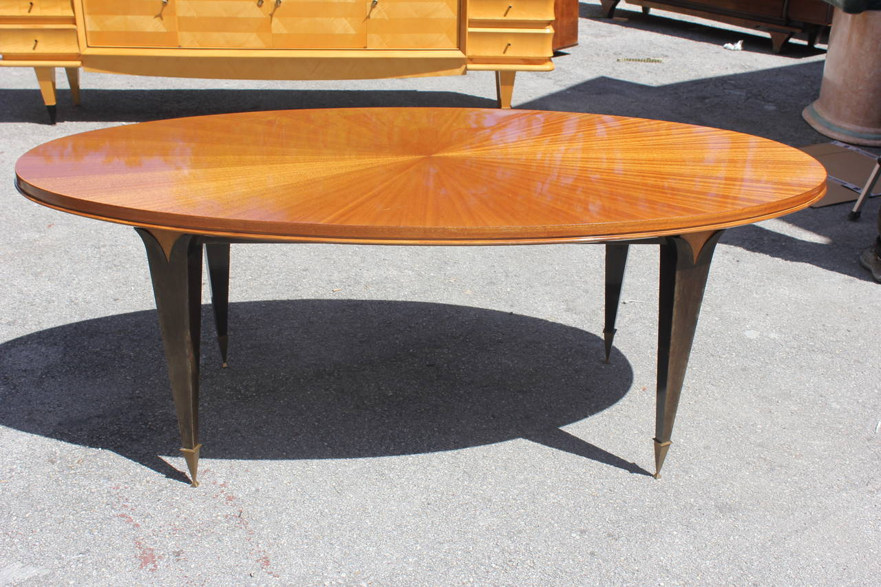French oval dining table - French Art Deco Flame Mahogany Sunray Oval Dining Table
