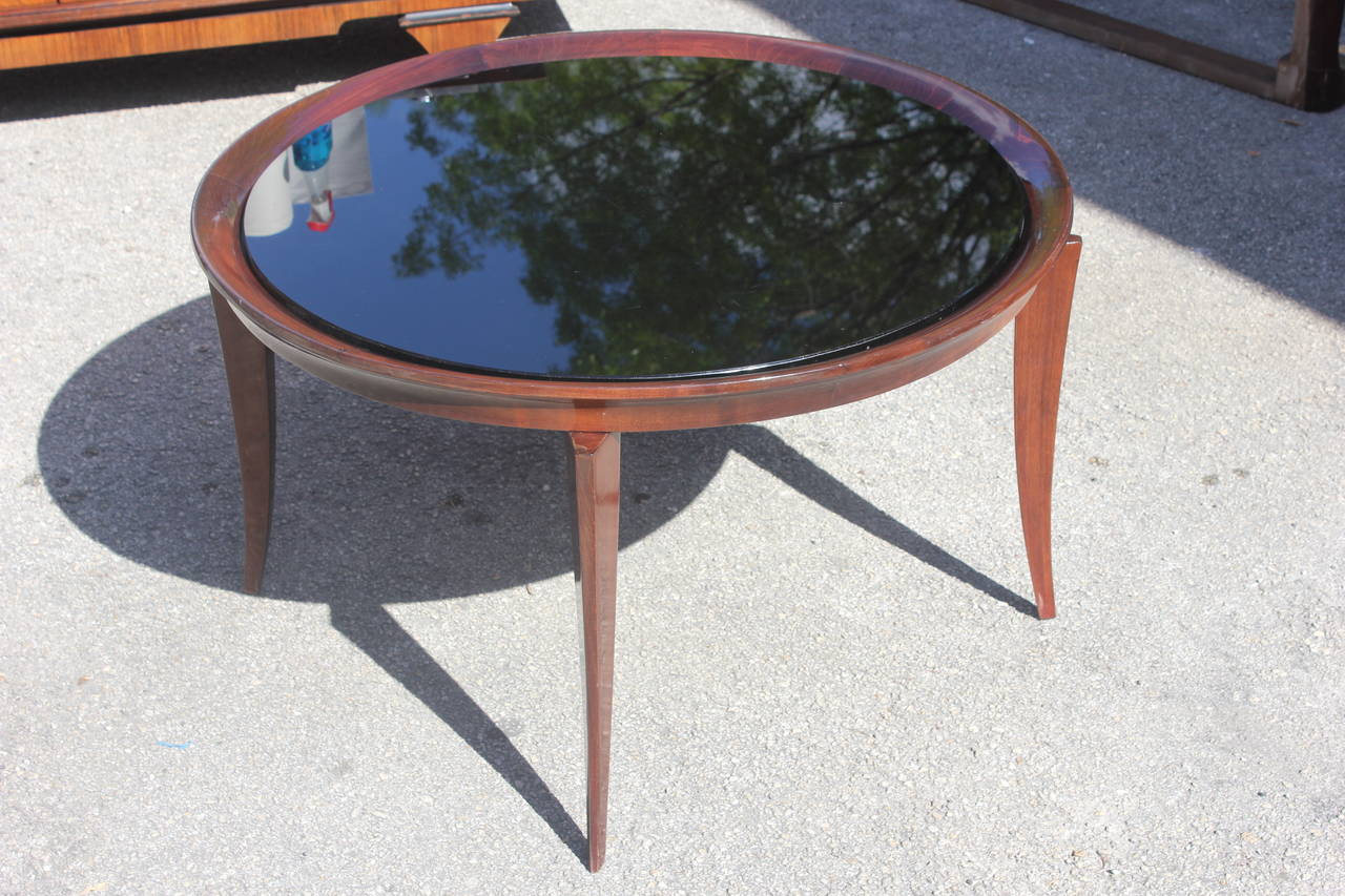 French art deco large round coffee or cocktail table for Large glass table top