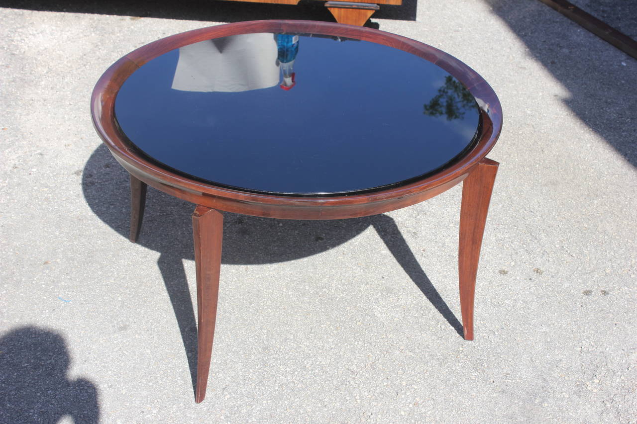 french art deco large round coffee or cocktail table black glass top at 1stdibs. Black Bedroom Furniture Sets. Home Design Ideas