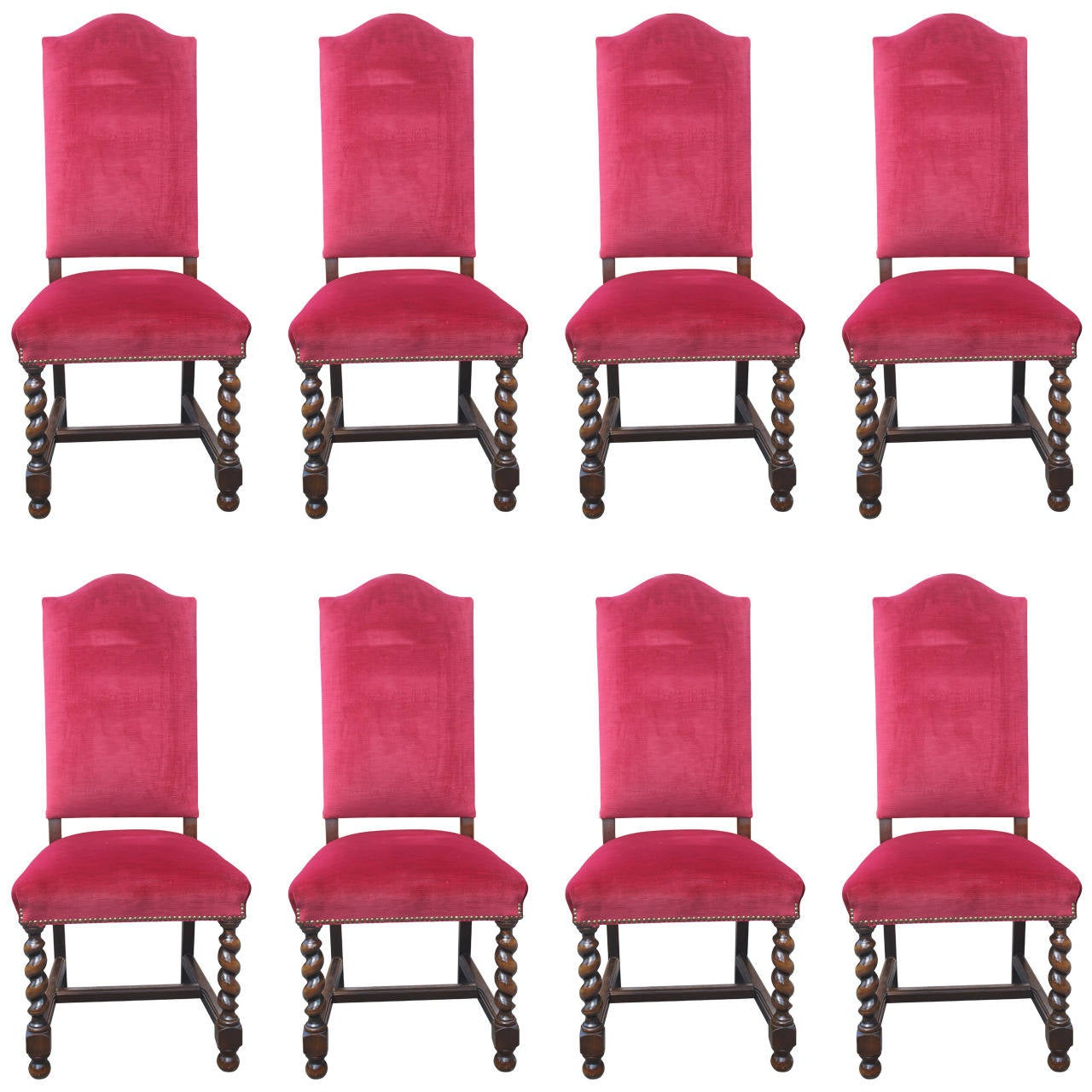 Eight French Antique Louis Xiii Style Oak Dining Chairs Circa 1890 For