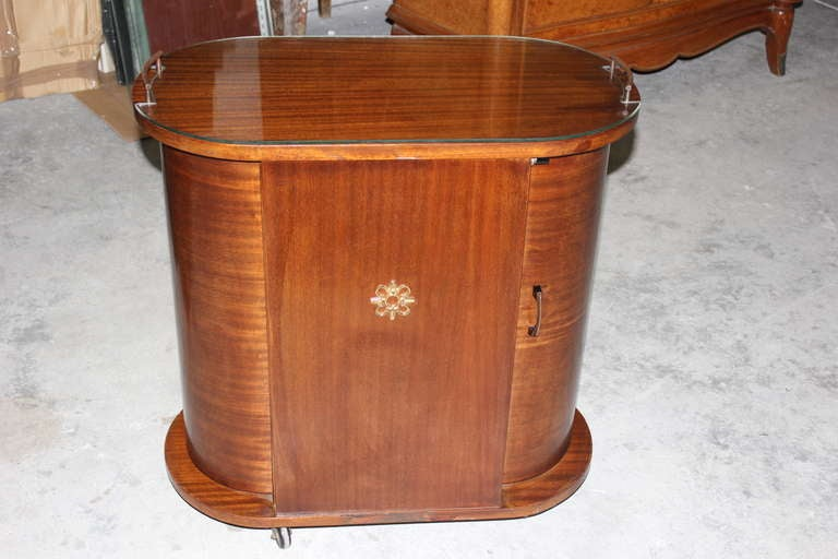 French Art Deco Mahogany Rolling Dry Bar Curved Doors At