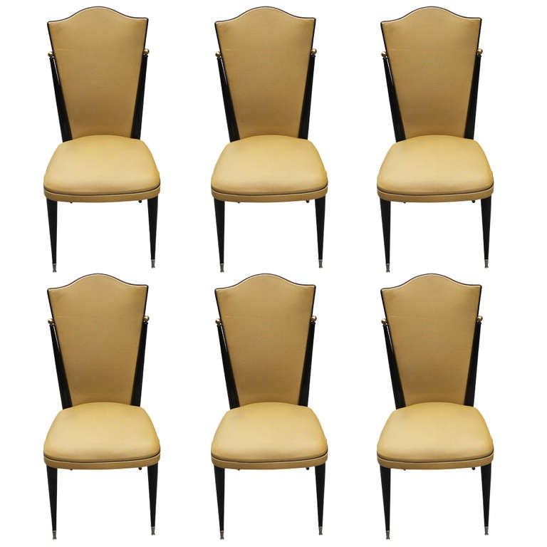 Set 6 French Art Deco Ebonized Walnut Dining Chairs, Brass