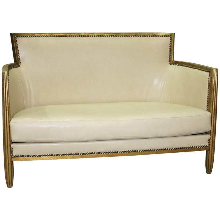 French art deco giltwood canape style paul follot at 1stdibs - Canape art deco cuir ...
