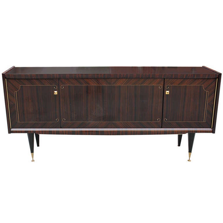 french art deco dark grain macassar ebony m o p buffet or sideboard 1940s. Black Bedroom Furniture Sets. Home Design Ideas