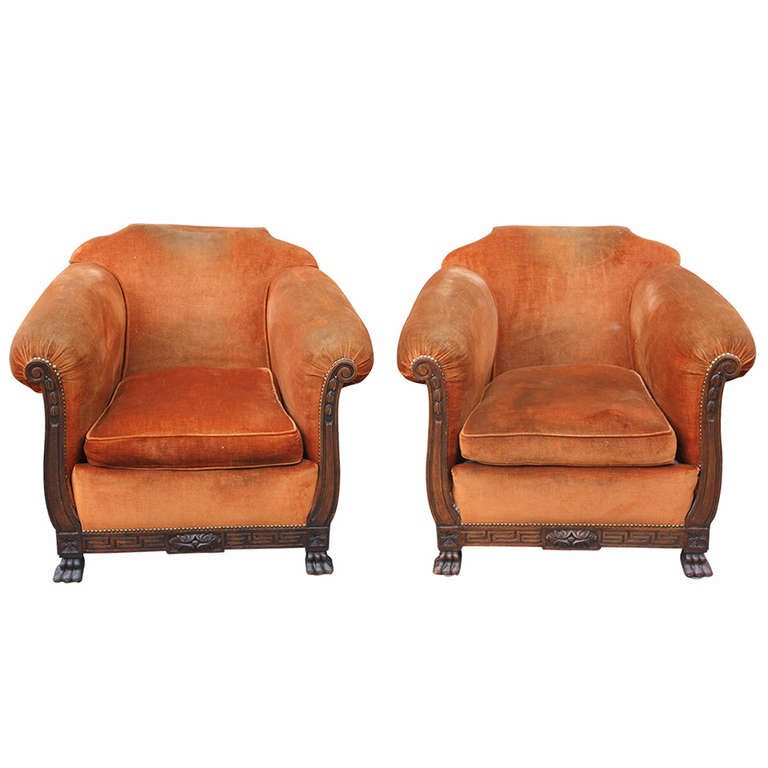 Pair Large and Comfortable Antique French Neoclassic Carved Walnut Club  Chairs For Sale - Pair Large And Comfortable Antique French Neoclassic Carved Walnut