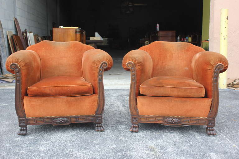 Pair Large And Comfortable Antique French Neoclic Carved Walnut Club Chairs 2