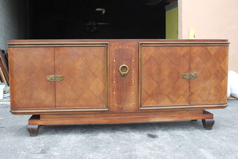 french art deco palisander marquetry with m o p detail buffet or sideboard at 1stdibs. Black Bedroom Furniture Sets. Home Design Ideas