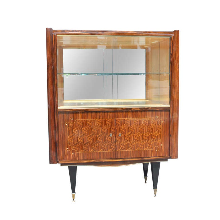 French Art Deco Exotic Macassar Ebony Dry Bar Display