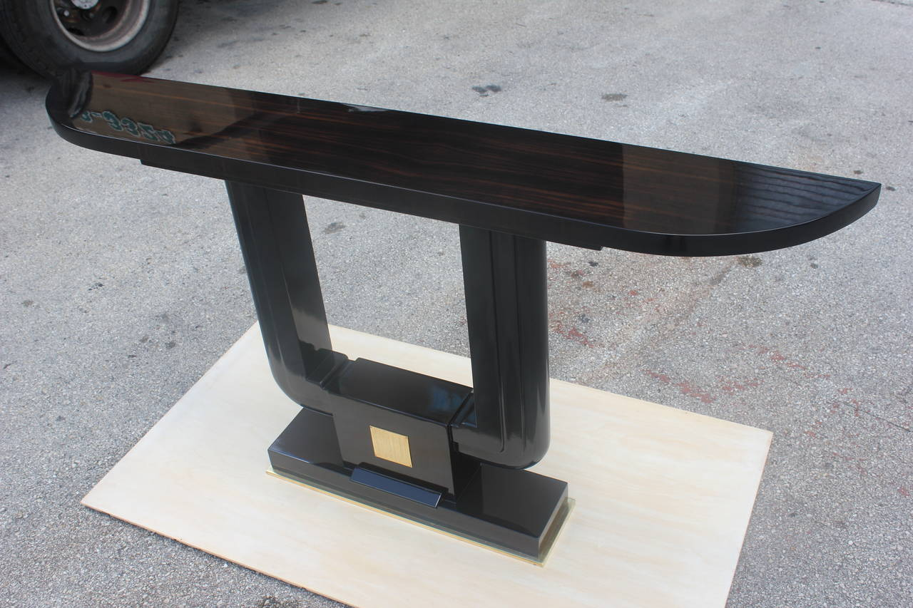 French art deco exotic macassar ebony demilune console table french art deco exotic macassar ebony demilune console table circa 1940s 3 geotapseo Image collections