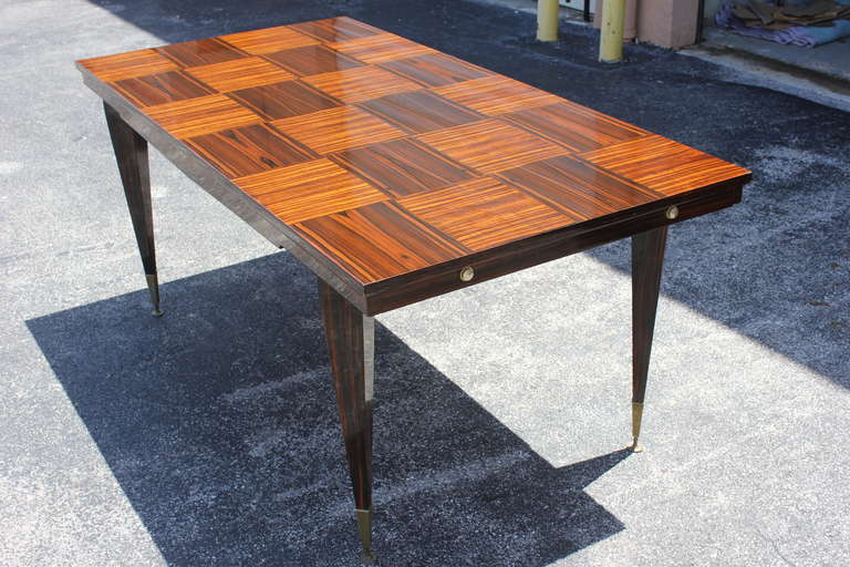 french art deco exotic macassar ebony marquetry inlay dining table circa 1940s 8 art deco dining table 8
