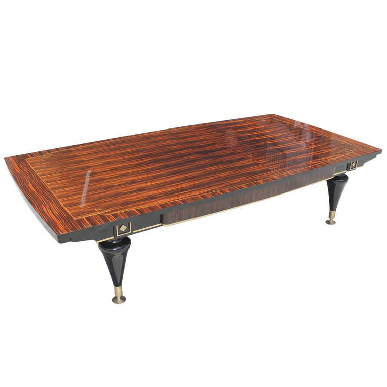 Huge French Art Deco Living Room Coffee Cocktail Table Exotic Macassar Ebony At 1stdibs