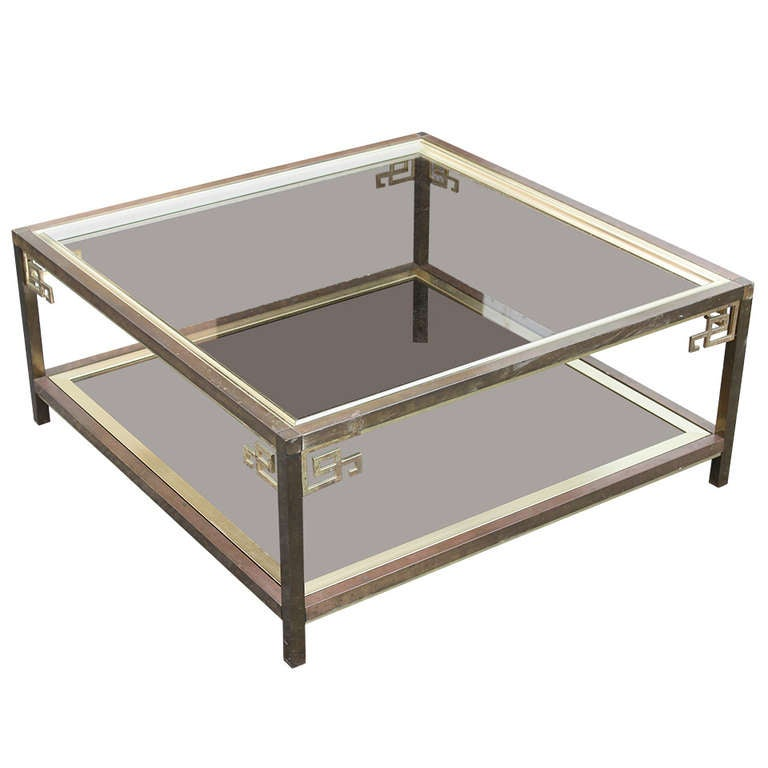 Mastercraft Large Brass And Glass Coffee Cocktail Table