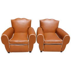 Pair of French Art Deco Moustache Back Vinyl Club Chairs, Year 1940