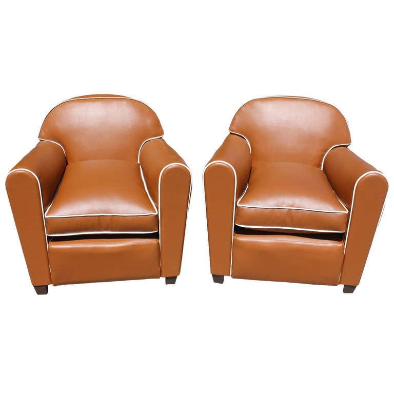 Pair French Art Deco Vinyl Club Chairs 1