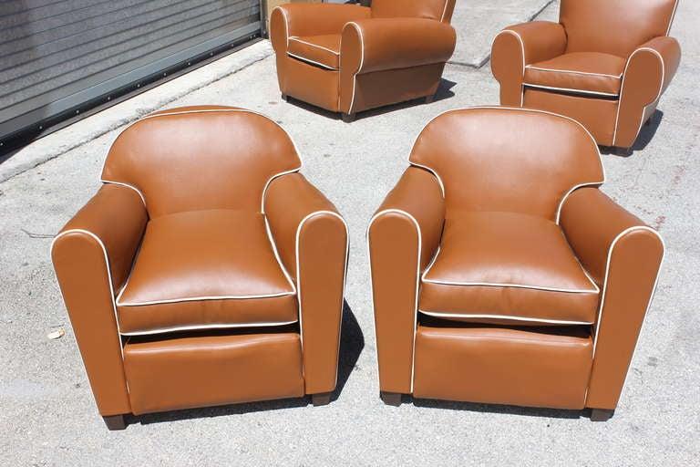 Pair French Art Deco Vinyl Club Chairs 2