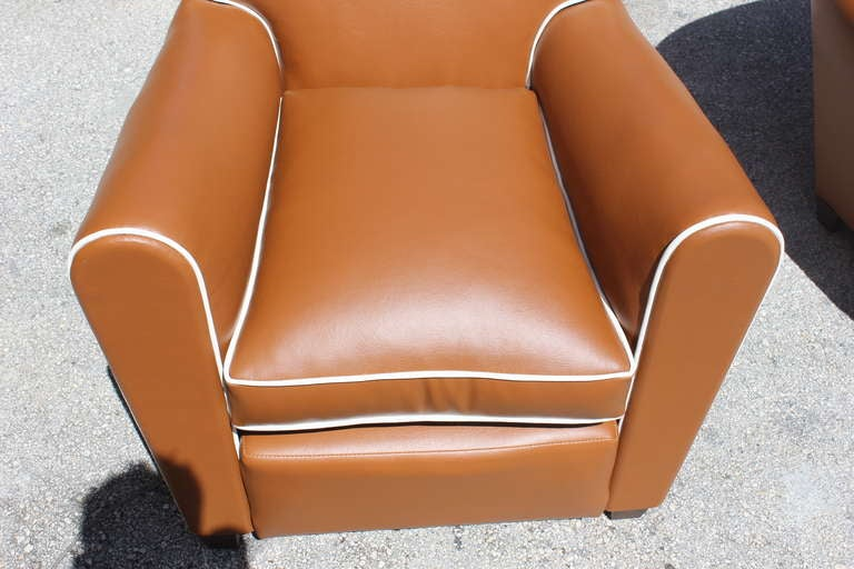 Pair French Art Deco Vinyl Club Chairs 6