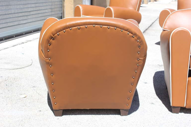 Pair French Art Deco Vinyl Club Chairs 7