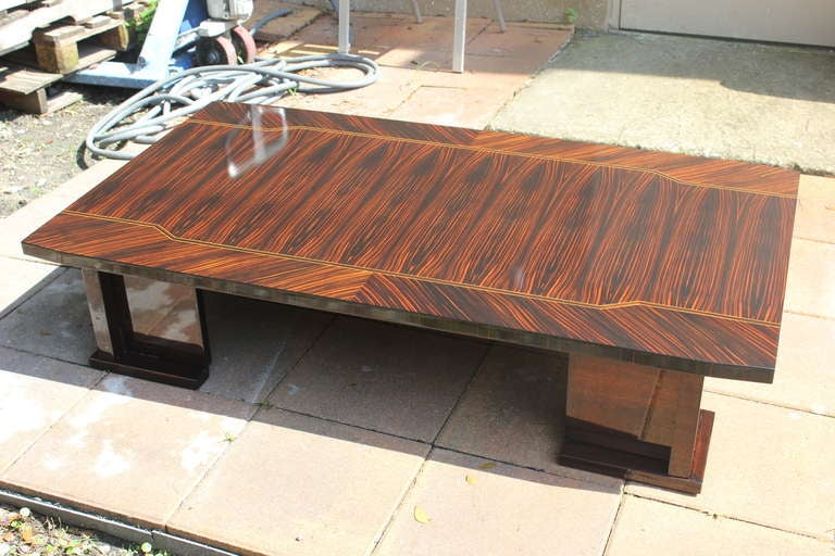 Grand Scale Exotic Macassar Ebony Coffee Cocktail Table At 1stdibs