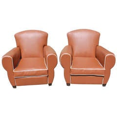 Pair of French Art Deco Club Chairs in Vinyl