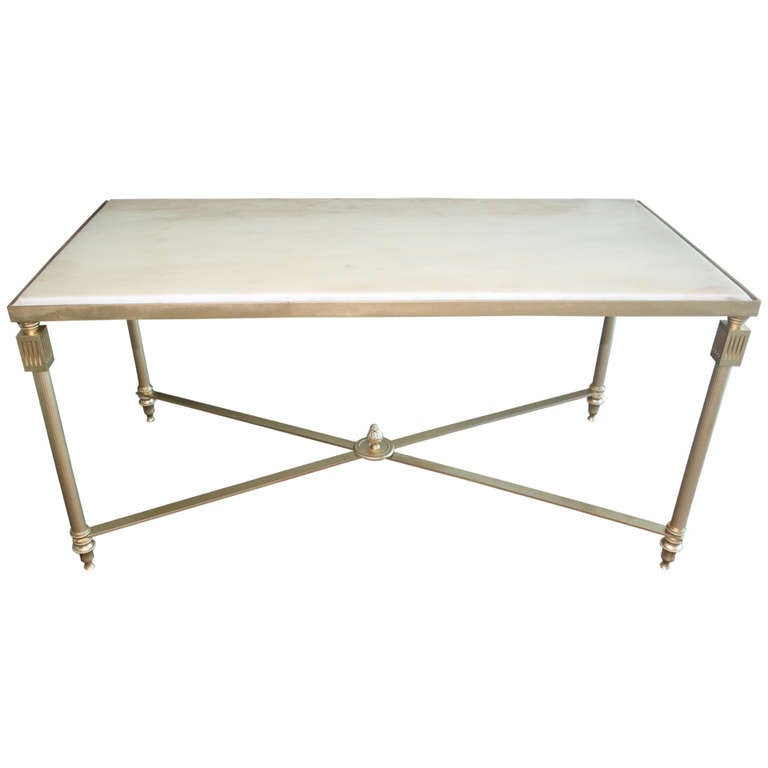 French Art Deco Brass/ Marble Coffee/ Cocktail Table At
