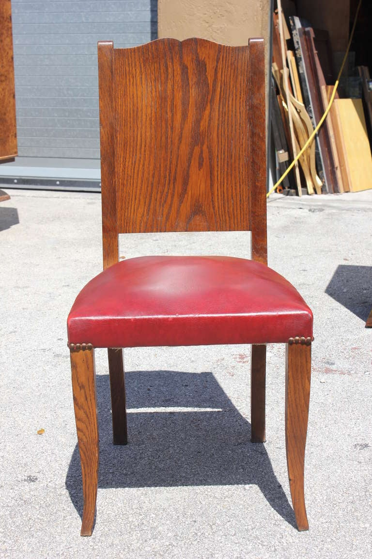 Set of Eight French Art Deco Tiger Oak Dining Chairs by Alfred ...