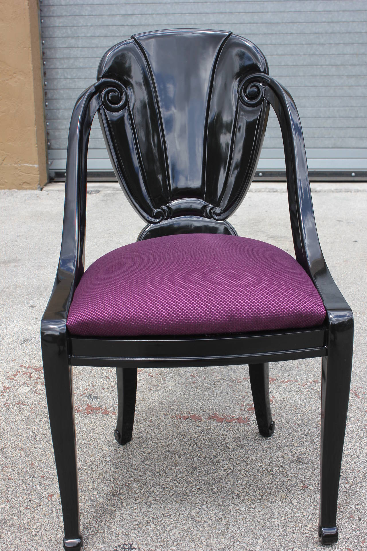 Pair of Black Lacquered French Art Deco Dining Chairs by Maurice