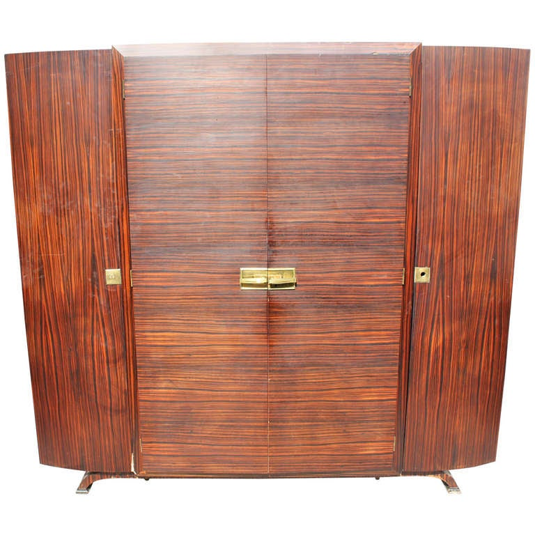 Grand Scale French Art Deco Exotic Macassar Ebony Armoire