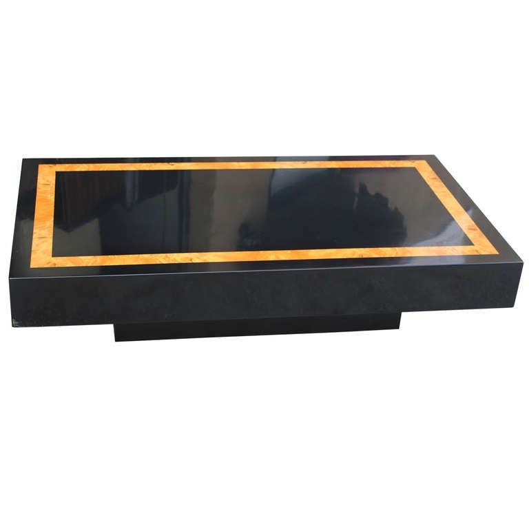 French Art Deco Black Lacquered/ Burl Wood Coffee