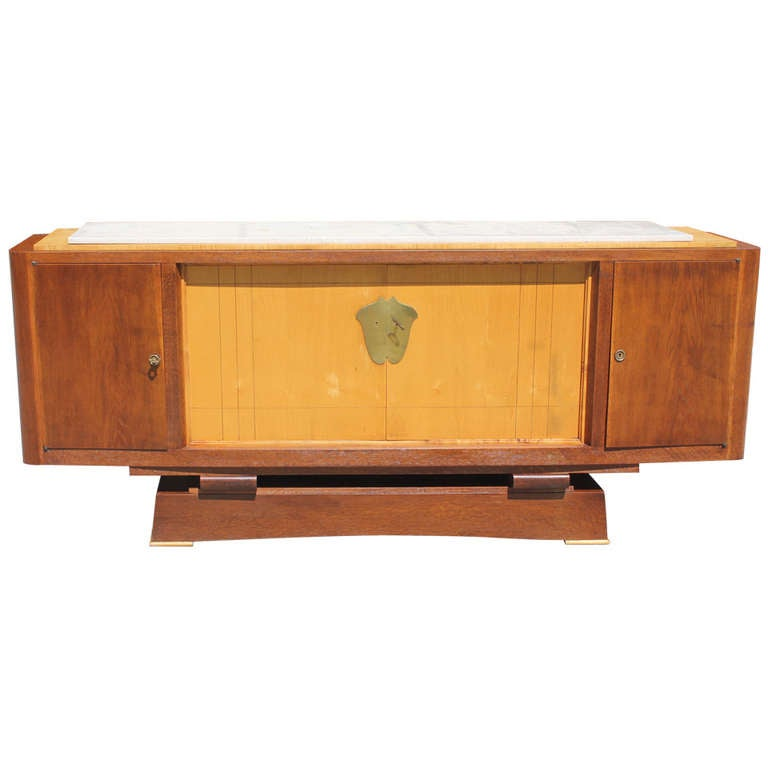 French Art Deco Tiger Oak Sycamore Buffet Style Alfred Porteneuve 1940 At 1stdibs