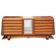 French Art Deco Solid Mahogany Buffet by Gaston Poisson, circa 1940s
