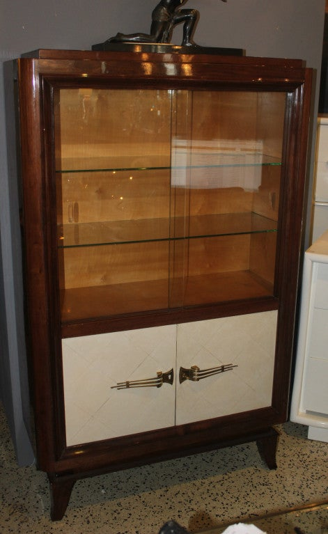 french art deco palisander parchment vitrine china cabinet at 1stdibs. Black Bedroom Furniture Sets. Home Design Ideas