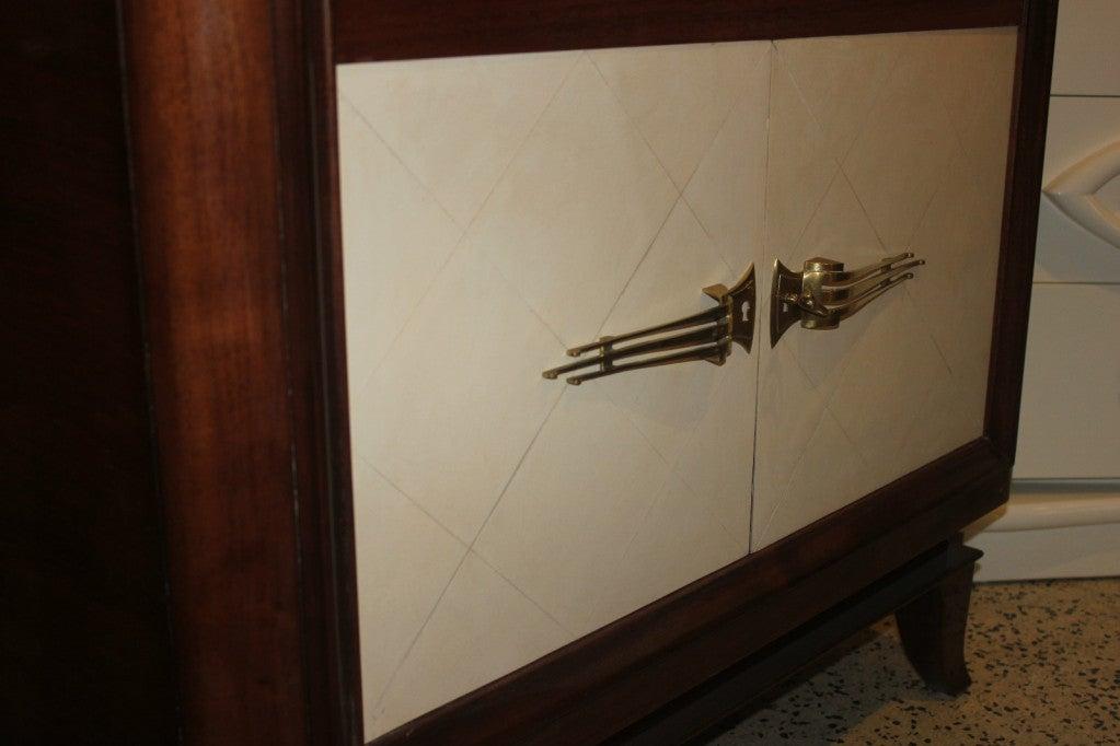 French Art Deco Palisander Parchment Vitrine China