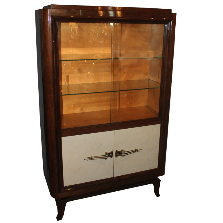 french art deco palisander parchment vitrine china. Black Bedroom Furniture Sets. Home Design Ideas