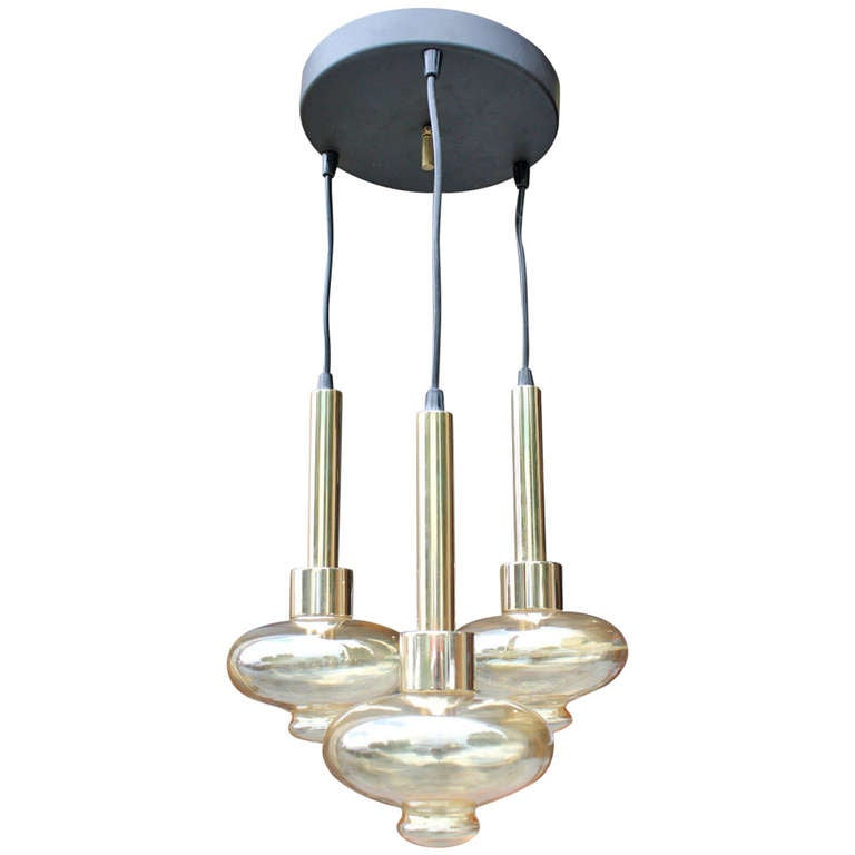 French Mid Century Modern 3 Light Fixture Blown Glass Shades At 1stdibs