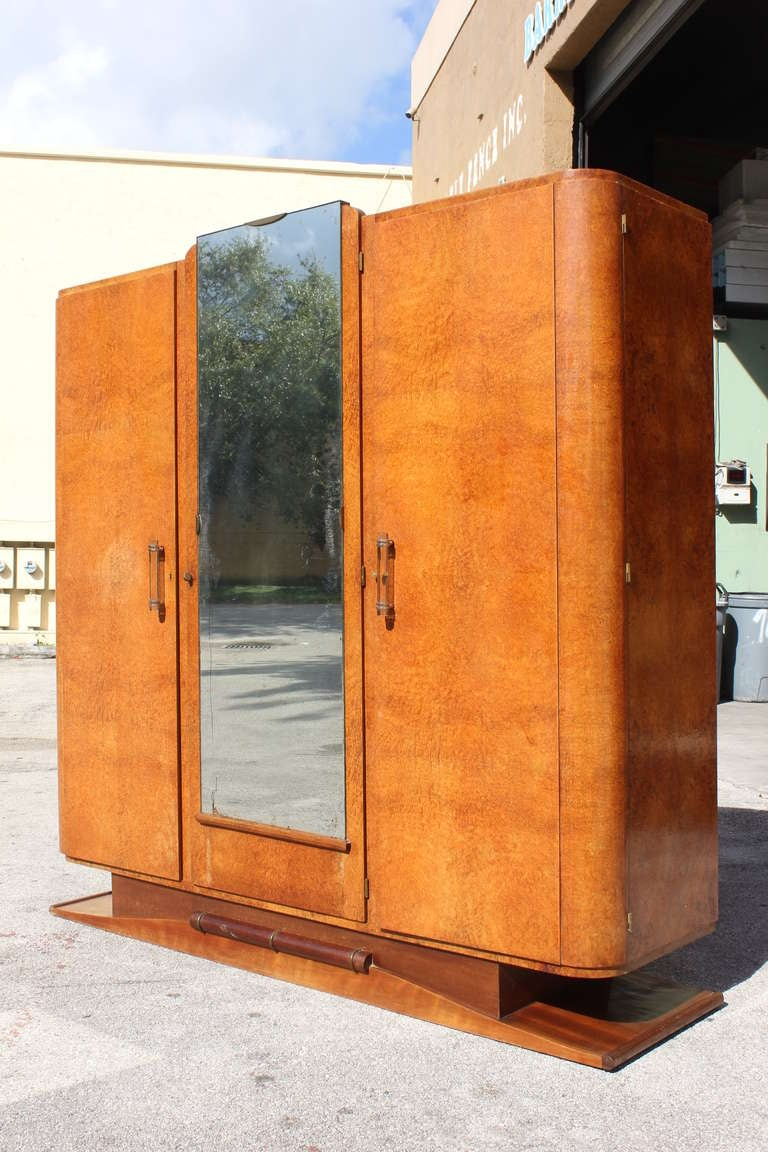 french art deco burl amboyna armoire or wardrobe circa 1940s at 1stdibs. Black Bedroom Furniture Sets. Home Design Ideas