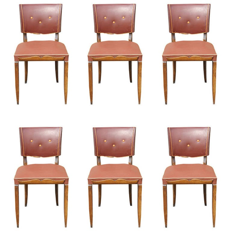 art deco low back carved walnut dining chairs circa 1940s at 1stdibs
