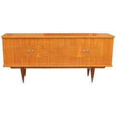 French Art Deco Flame Mahogany Buffet or Credenza, circa 1940s