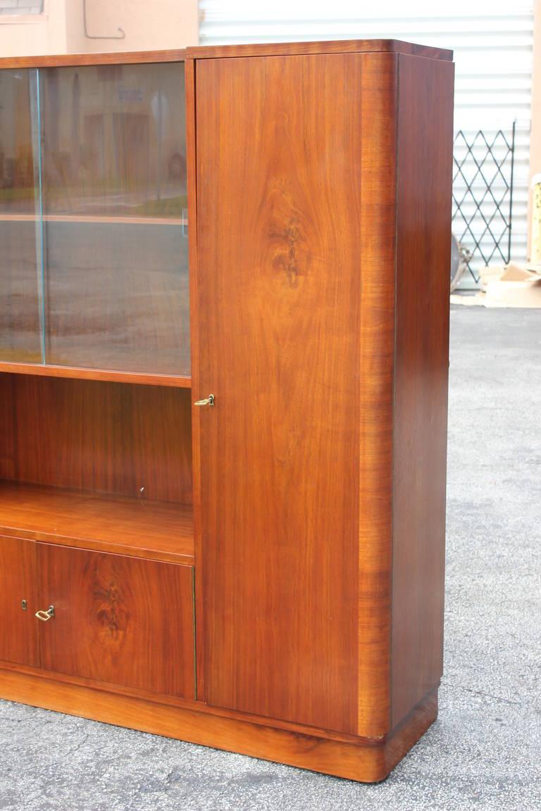 Grand Scale French Art Deco Walnut Bookcase Circa 1940s