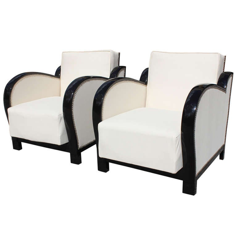 Pair Of French Art Deco Curved Arm Speed Style Reclining