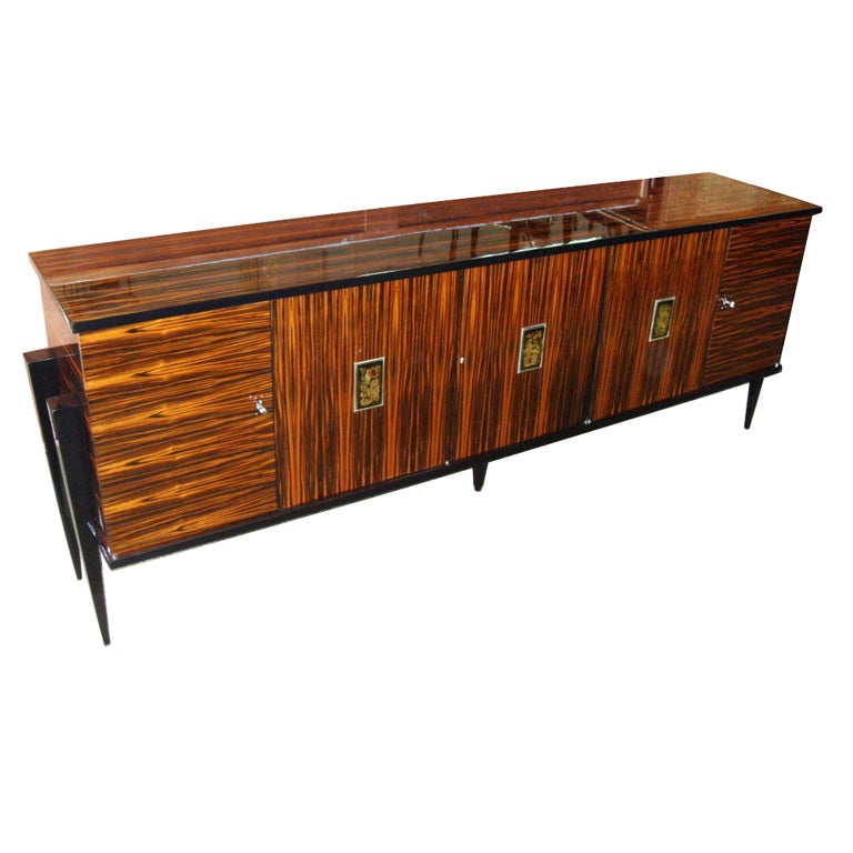 French Art Deco Exotic Macassar Ebony Buffet Credenza At