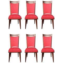 Set of Six French Art Deco / Art Modern Mahogany Dining Chairs, circa 1940s