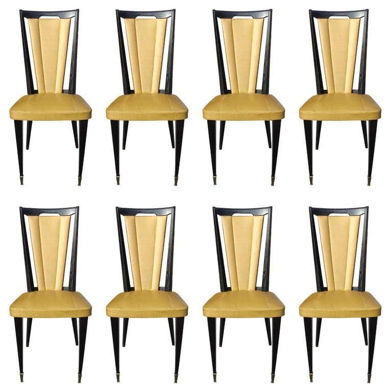set of eight french art deco ebonized walnut dining chairs
