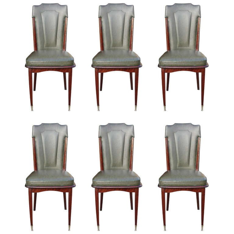 Set 6 french art deco walnut dining chairs circa 1940 39 s for Dining room tables 1940s