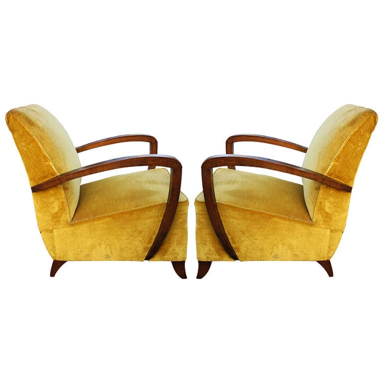 Pair french art deco walnut curved arm club chairs circa for Chair design 1930