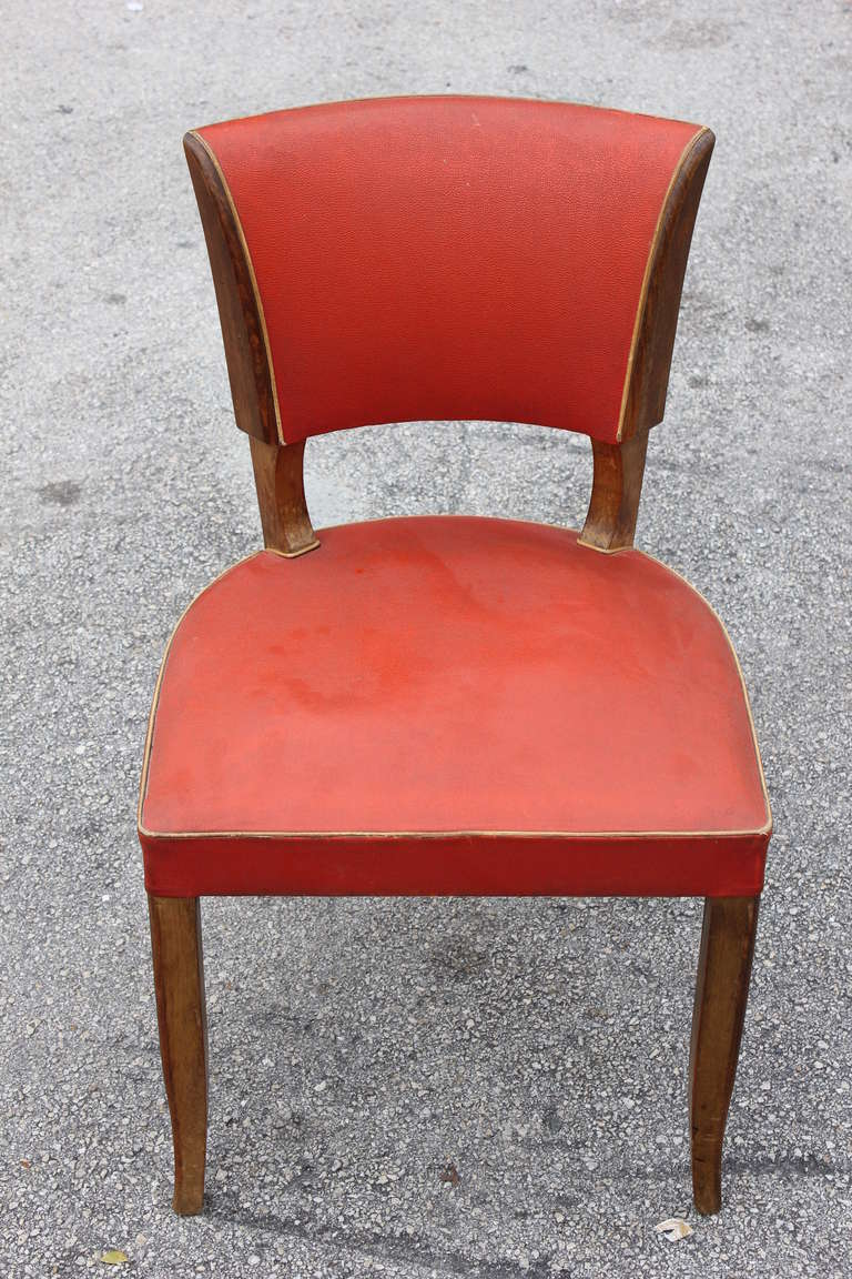 set 5 french art deco low back walnut dining chairs circa