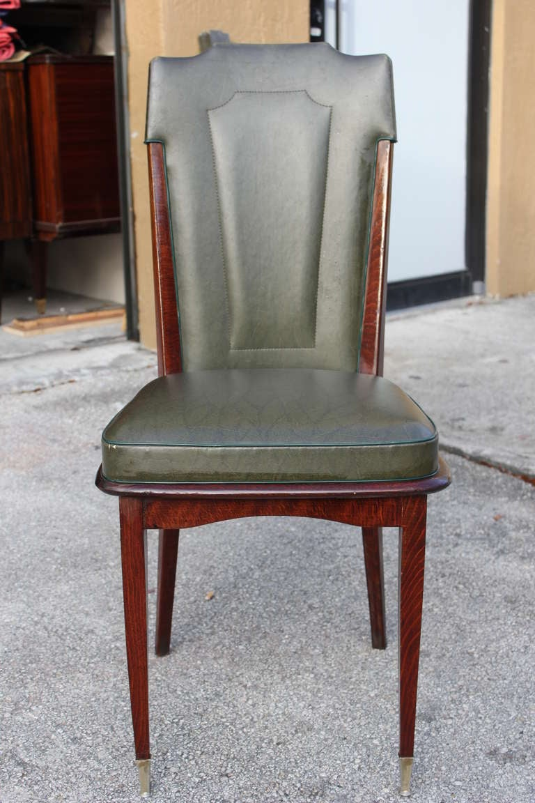 Set 6 French Art Deco Walnut Dining Chairs Circa 1940 S