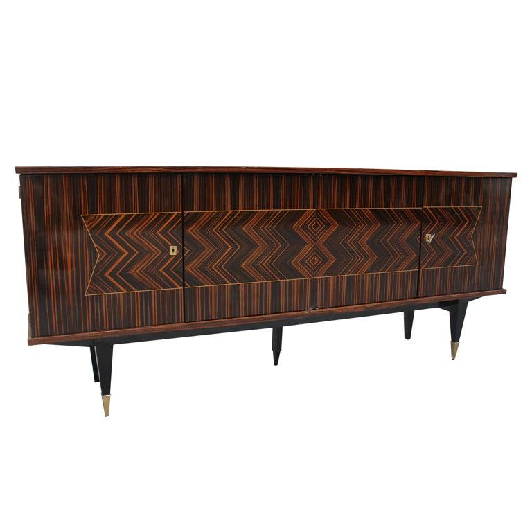 french art deco exotic macassar ebony zigzag buffet. Black Bedroom Furniture Sets. Home Design Ideas